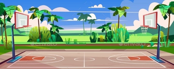 Vector Street Basketball Court with Green Palms - Backgrounds Decorative