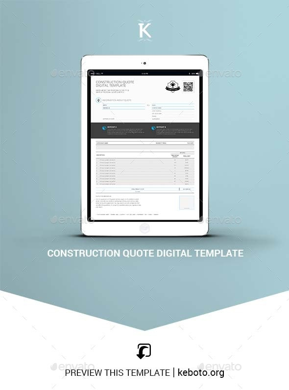 Construction Quote Digital Template - ePublishing
