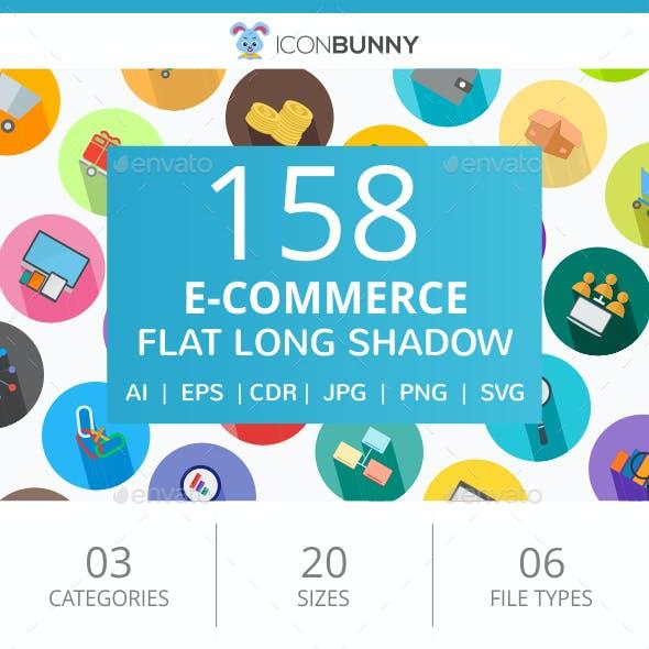 158 E-Commerce Flat Long Shadow Icons