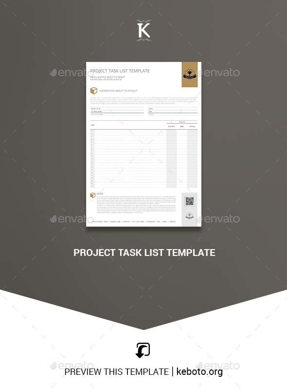 Project Task List Template - Miscellaneous Print Templates