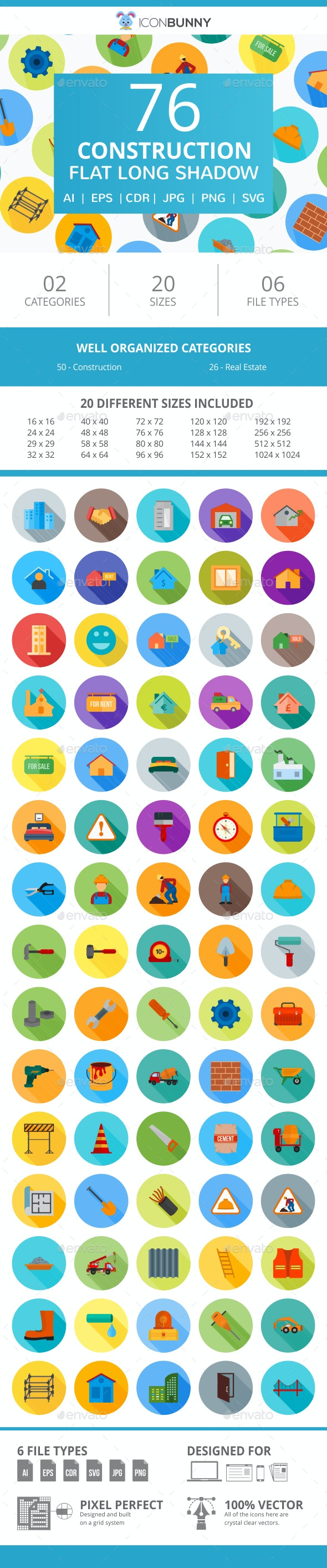 76 Construction Flat Long Shadow Icons - Icons