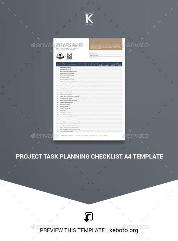 Project Task Planning Checklist A4 Template - Miscellaneous Print Templates