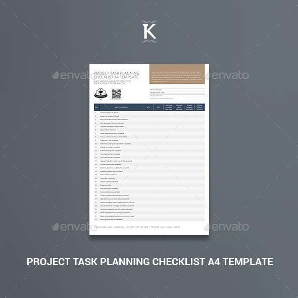 Project Task Planning Checklist A4 Template