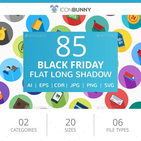 85 Black Friday Flat Long Shadow Icons