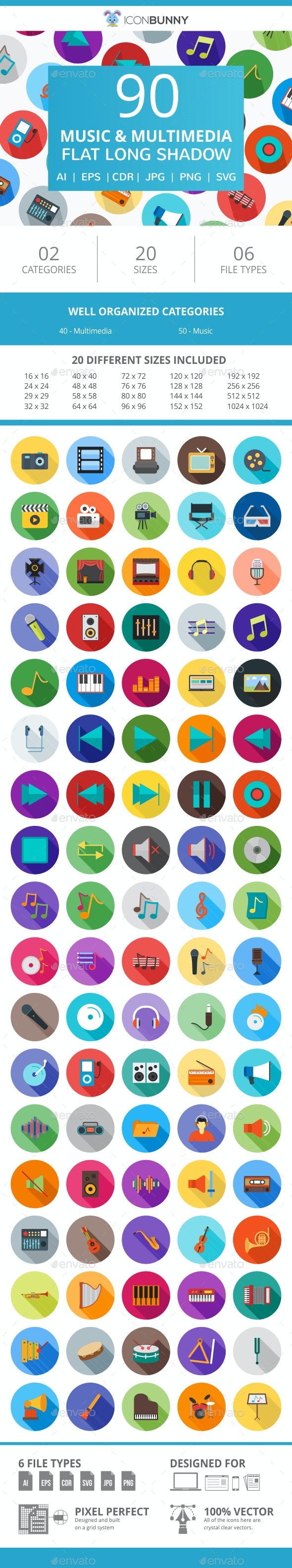 90 Music & Multimedia Flat Long Shadow Icons - Icons