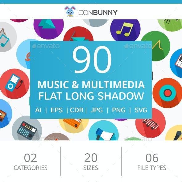 90 Music & Multimedia Flat Long Shadow Icons