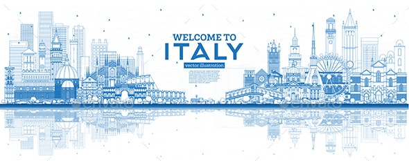 Outline Welcome to Italy City Skyline with Blue Buildings and Reflections - Buildings Objects