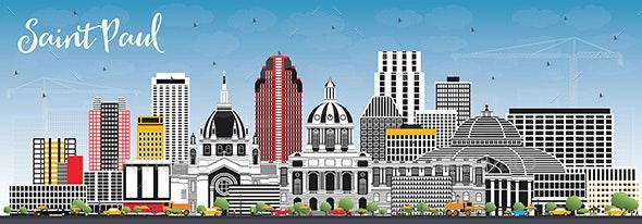 Saint Paul Minnesota City Skyline with Gray Buildings and Blue Sky - Buildings Objects