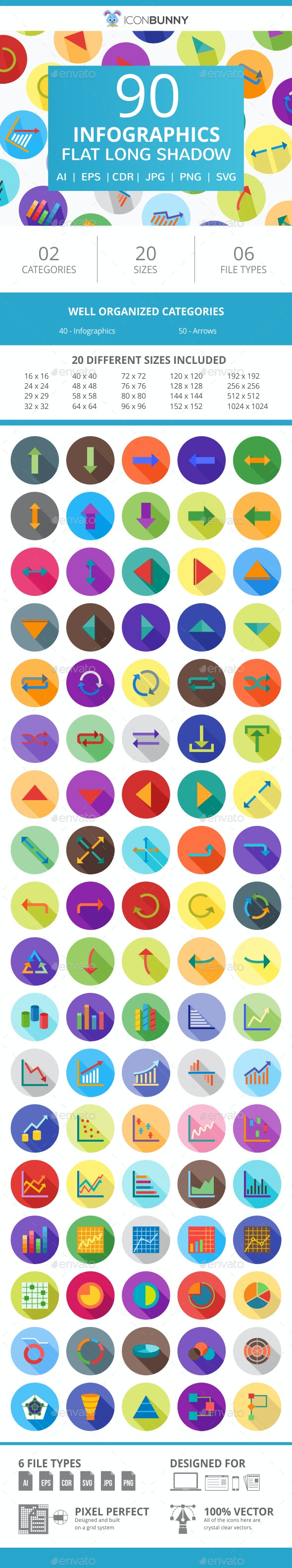 90 Infographics Flat Long Shadow Icons - Icons