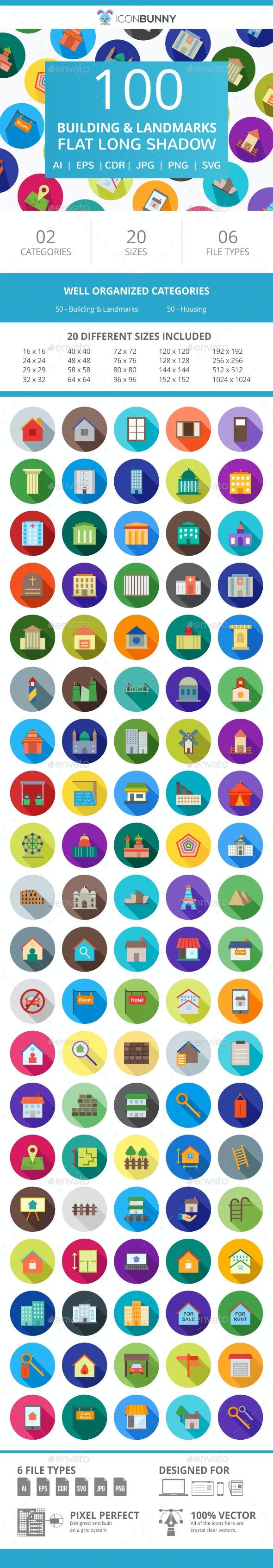 100 Building & Landmarks Flat Long Shadow Icons - Icons