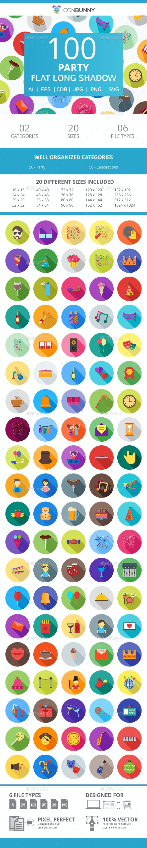 100 Party Flat Long Shadow Icons - Icons