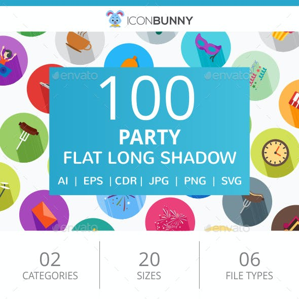 100 Party Flat Long Shadow Icons
