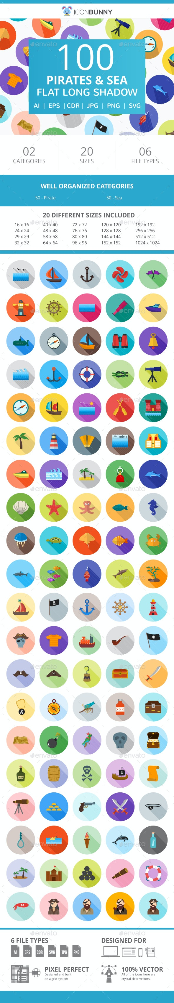 100 Pirate & Sea Flat Long Shadow Icons - Icons