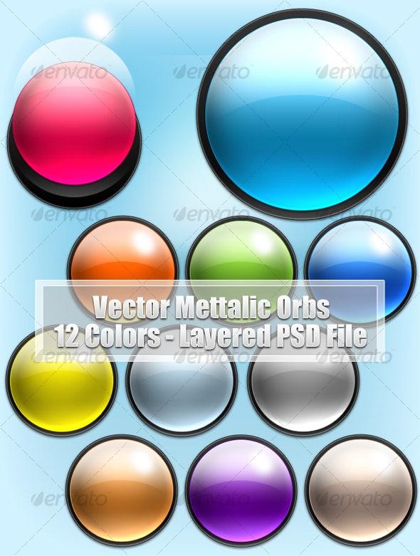 Vector Metallic Orbs - Web Elements