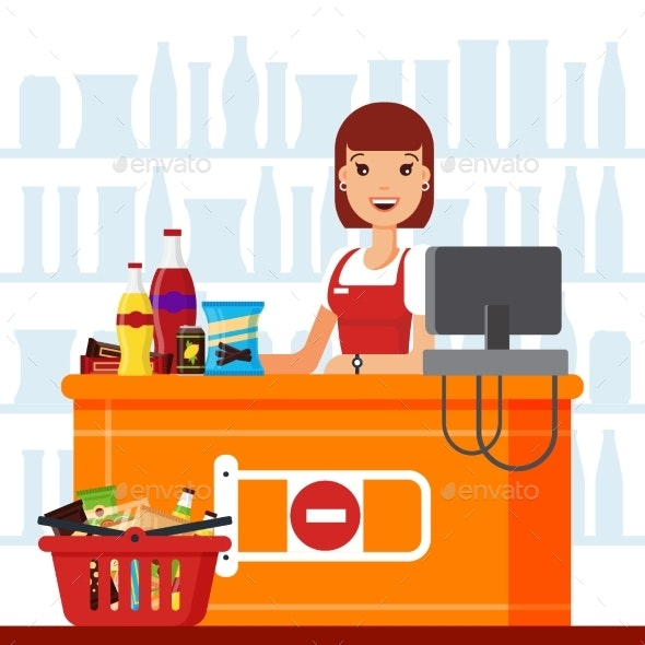 Woman Cashier in Supermarket with Snack Products - Food Objects