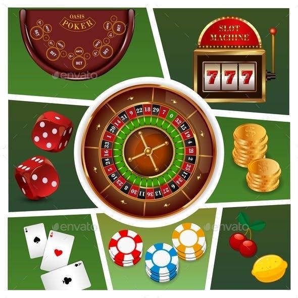 Realistic Casino Elements Composition
