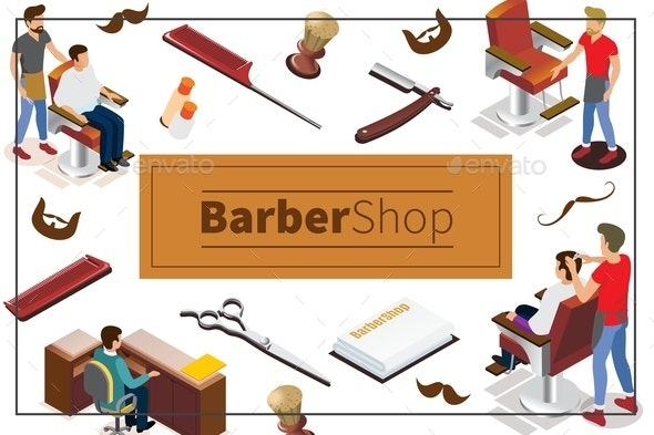 Isometric Barber Shop Colorful Concept - Services Commercial / Shopping