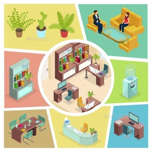 Isometric Office Interior Composition - Miscellaneous Vectors