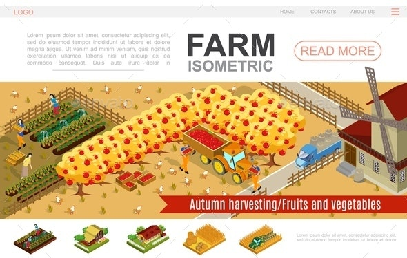 Isometric Farming Website Template - Food Objects