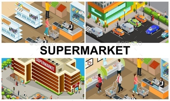 Isometric Supermarket Colorful Composition - Buildings Objects