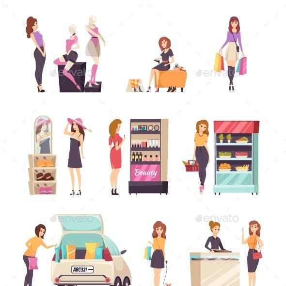 Woman Shopping at Stores and Shops Set Vector