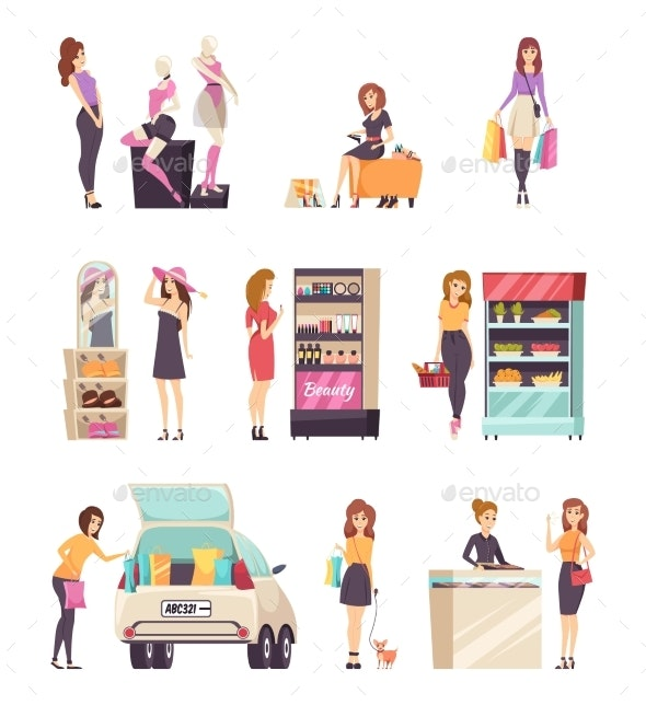 Woman Shopping at Stores and Shops Set Vector - People Characters
