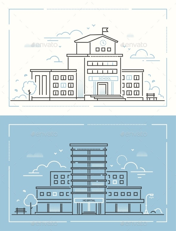 School and Hospital - Set of Thin Line Design - Buildings Objects