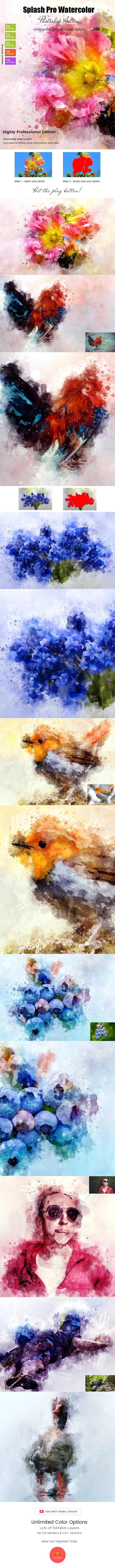 Splash Pro Watercolor Action - Photo Effects Actions