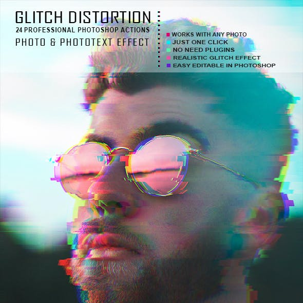 VHS Glitch Photo/Text Effect - 24 PS Actions