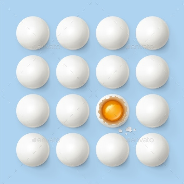 Set of Eggs with Yolk and Shell - Food Objects
