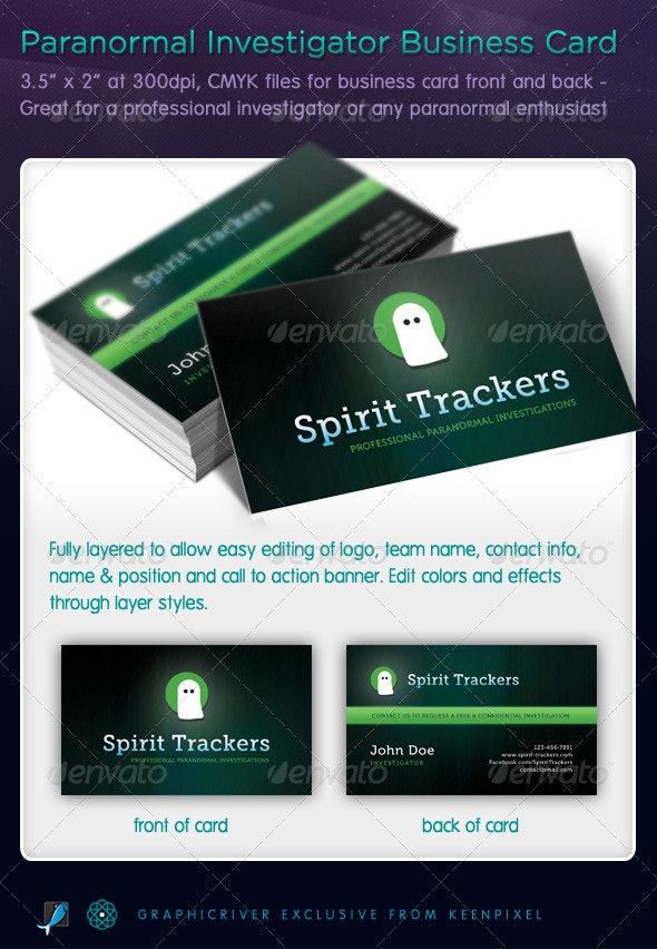 Paranormal Investigator Business Cards - Industry Specific Business Cards
