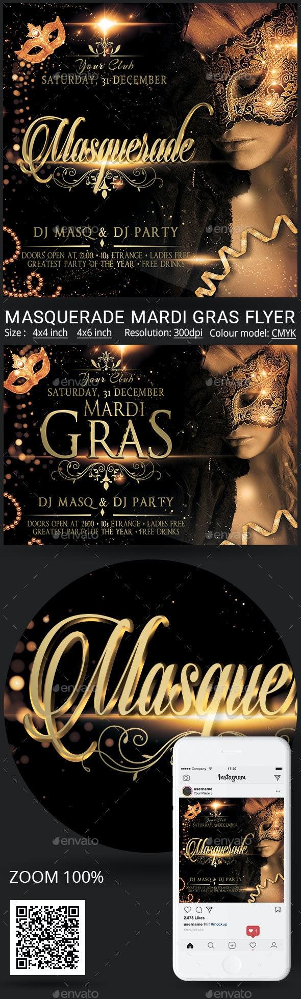 Masquerade Mardi Gras - Events Flyers