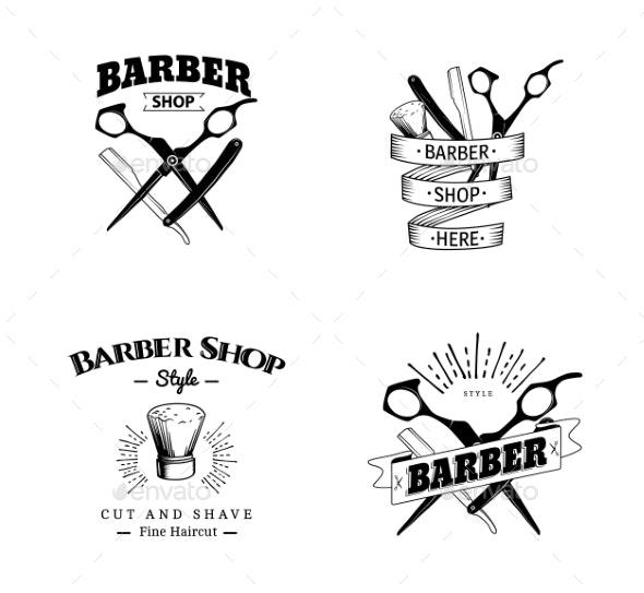 Set of Retro Barber Shop Emblems - Miscellaneous Vectors