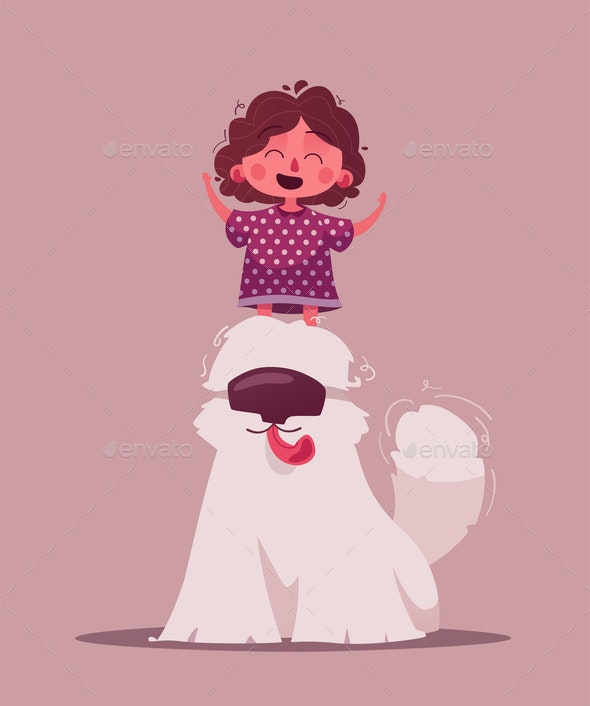 Little Girl with Pet - Animals Characters