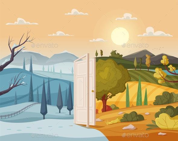 Open Door Winter and Summer Valley Landscape - Backgrounds Decorative
