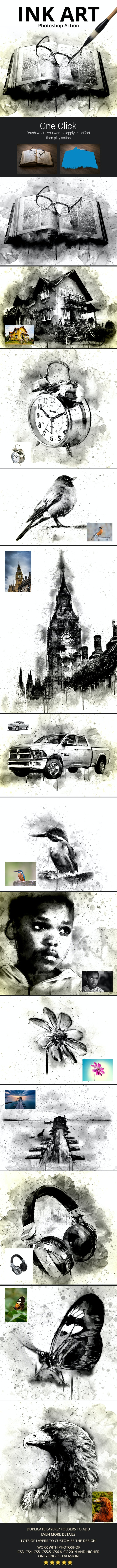 Ink Art Photoshop Action - Photo Effects Actions