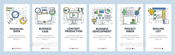 Web Site Onboarding Screens Business Development - Web Elements Vectors
