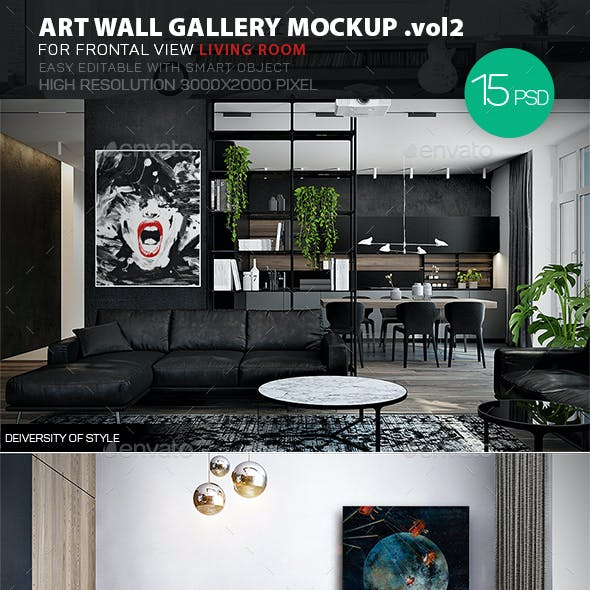 Art Wall Gallery Mockup vol.2 - Frontal View Living Room