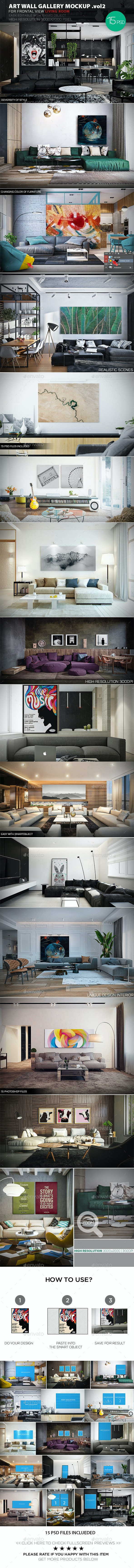 Art Wall Gallery Mockup vol.2 - Frontal View Living Room - Posters Print