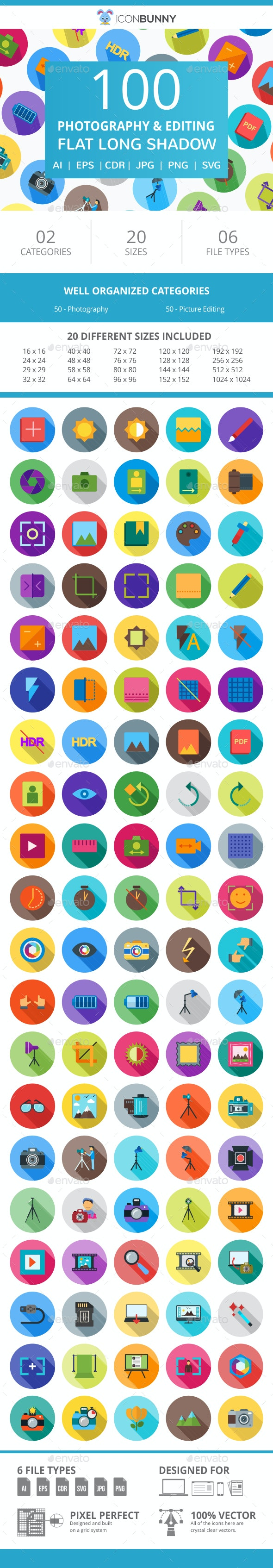 100 Photography & Picture Flat Long Shadow Icons - Icons