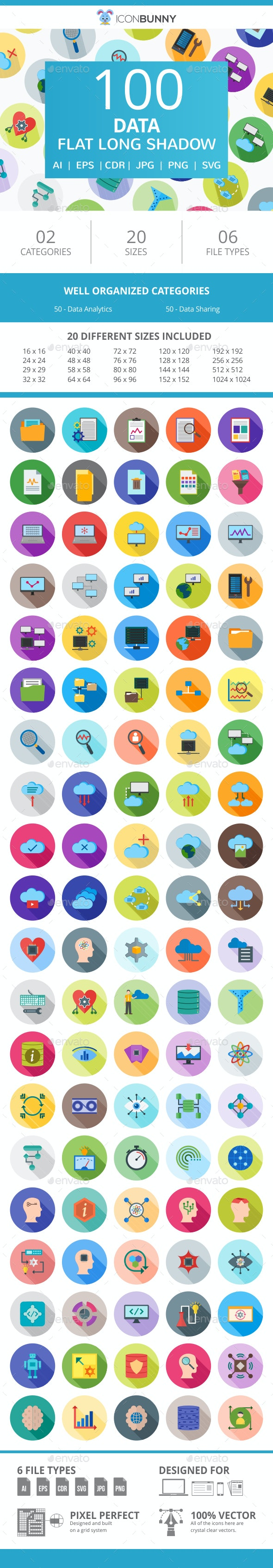 100 Data Flat Long Shadow Icons - Icons