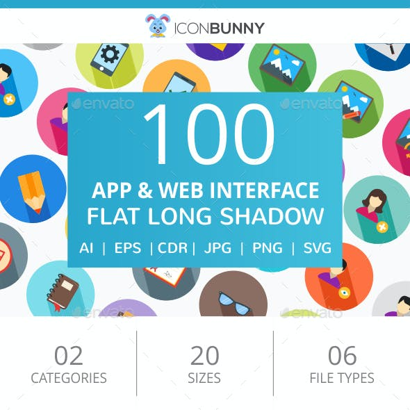 100 App & Web Interface Flat Greyscale Icons