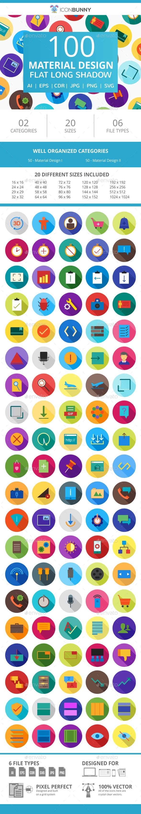100 Material Design Flat Greyscale Icons - Icons