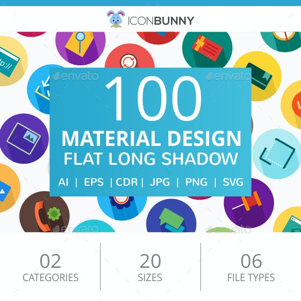 100 Material Design Flat Greyscale Icons