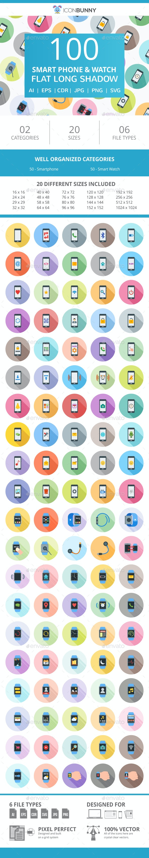 100 Smartphone & Smartwatch Flat Greyscale Icons - Icons