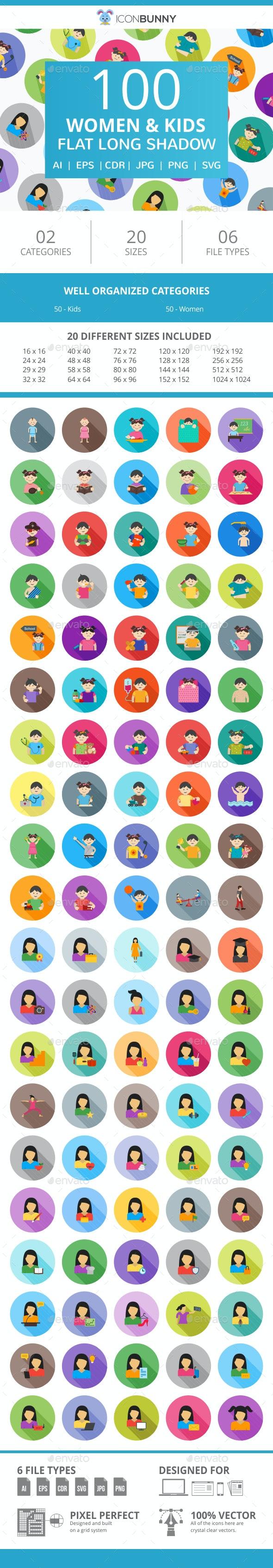 100 Women & Kids Flat Long Shadow Icons - Icons