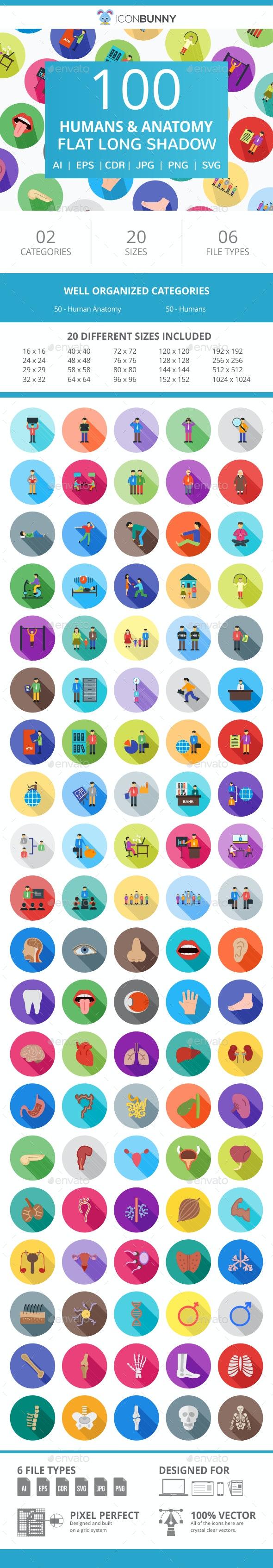 100 Humans & Anatomy Flat Long Shadow Icons - Icons