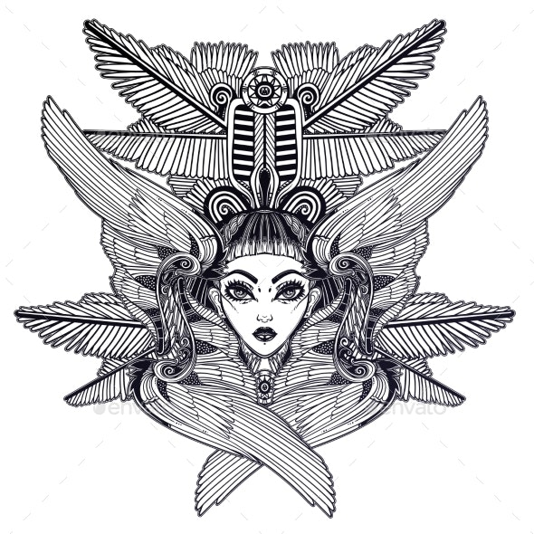 Portrait of the Ancient Egyptian Winged Goddess - Miscellaneous Characters