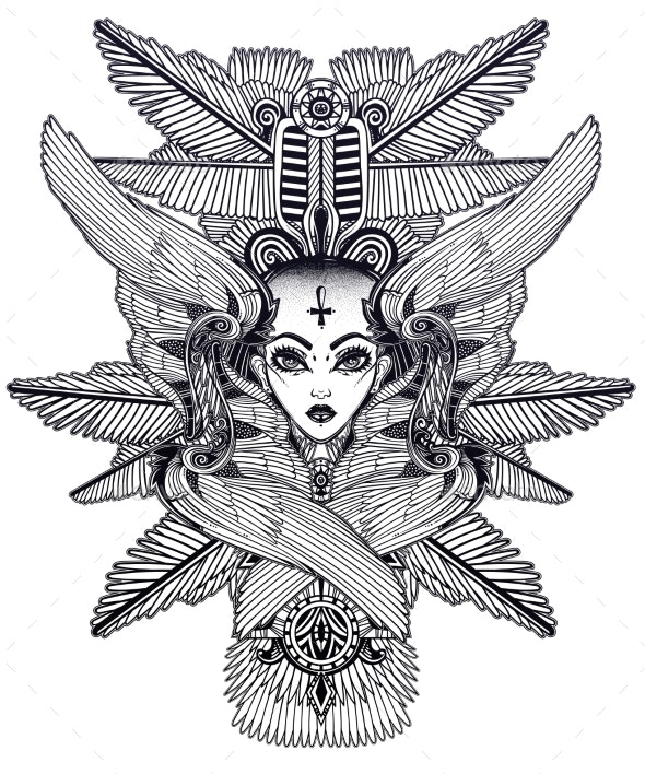 Portrait of the Ancient Egypt Winged Goddess - Monsters Characters