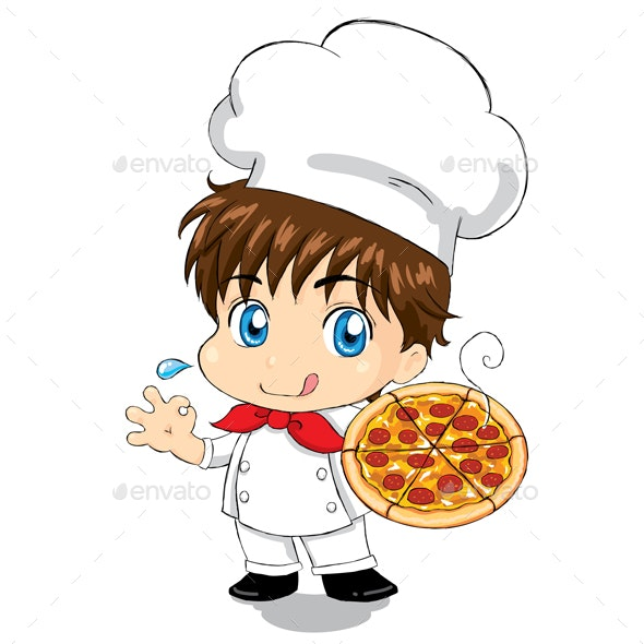 Little Chef with Pizza - People Characters